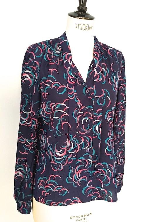 Pierre Cardin pussy bow blouse 70s secretary tie n