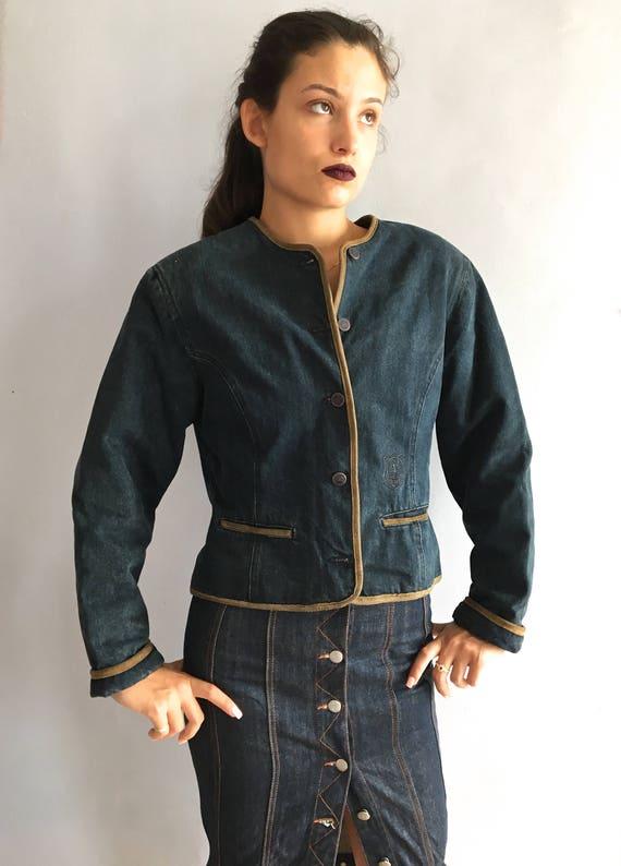 Vintage Valentino denim jacket shoulder pads quilt