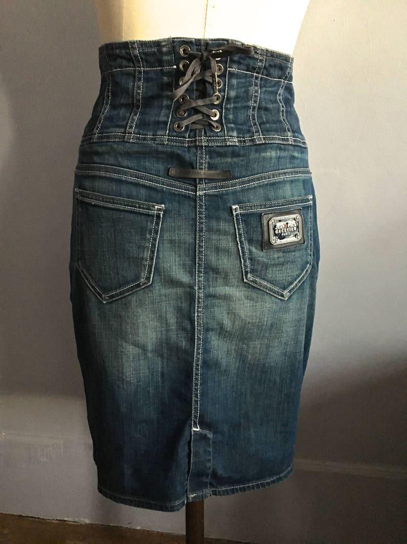 bc14828b35f4 Jean Paul Gaultier denim skirt pencil skirt corset lacing 80s
