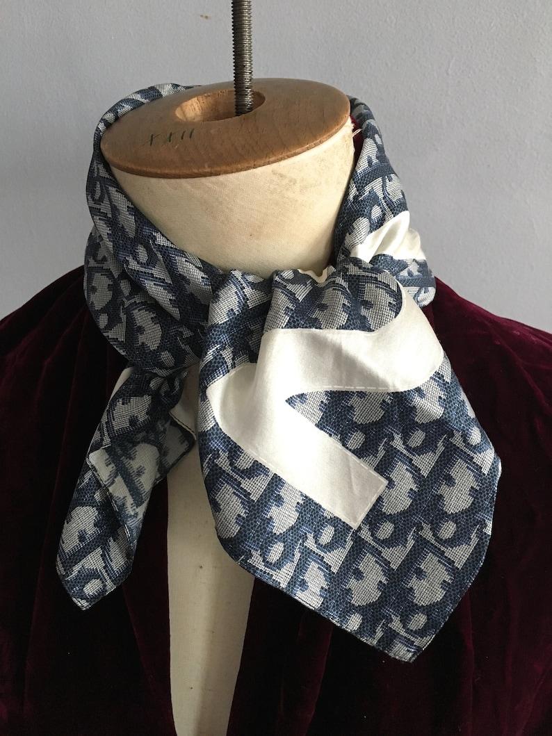 5ab99685c18 Christian Dior silk scarf Galliano for Dior trotter scarf blue   Etsy