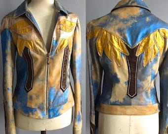 Roberto Cavalli metallic foil leather jacket Spring 2002 painted suede patchwork jacket Cavalli spring 02 metallic patchwork palm trees