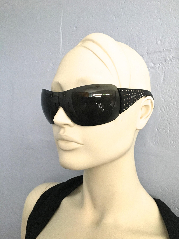 Prada wrap glasses studded sunglasses Prada shield sunglasses
