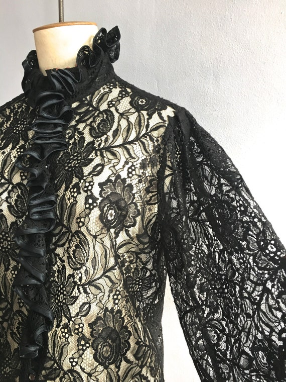 Louis Feraud ruffled lace blouse gathered sleeves
