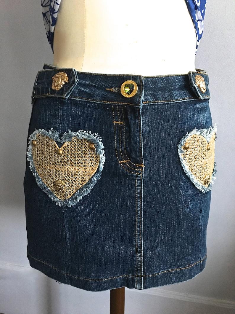 c3052f82e52a1 Vintage Versace denim mini skirt medusa head vintage Versace