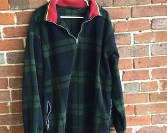 a93e31bbc6355e Vintage Trader Bay Long Sleeve Plaid Fleece Jacket  Size Large