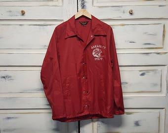 Rare Vintage Arkansas Staff Razorback Hogs Football Pla-Jac by Dunbrooke Mens Windbreaker Jacket Size XL Woo Pig Sooie