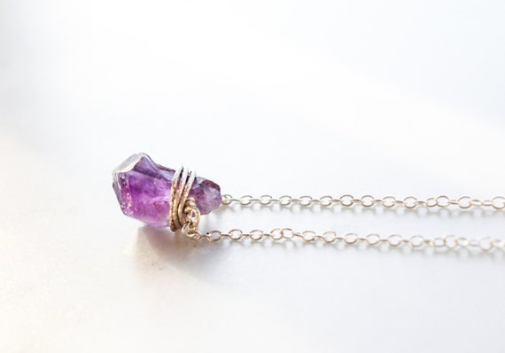 Amethyst Pendant with Freshwater Pearl Bead Unique Wire Wrapped Necklace Natural Raw Gemstone Jewelry February Birthday Gifts for Her