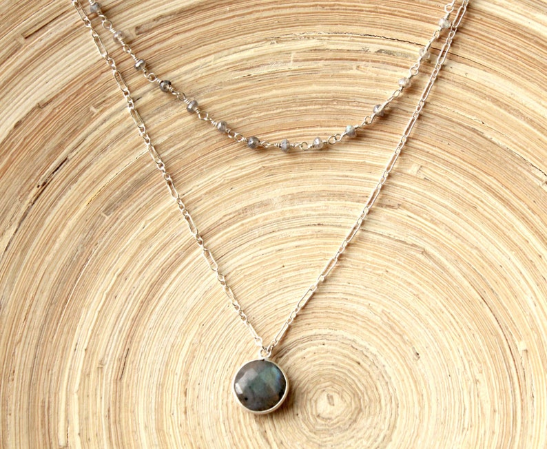 Modern style gift Modern multi strand necklace Double strand Labradorite and sterling silver necklace Jewelry new trends.Graduation gift