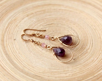 Amethyst gold filled earrings- February birthstone. Small dangle earrings - Amethyst. February birthday gift, Graduation 2018 gifts for her