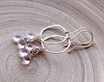 Rose Quartz and organic sterling silver hoop earrings. Wedding earrings, organic shape. Bridal earrings with Rose Quartz. Valentines gifts