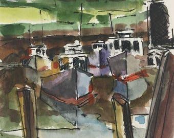Perkins Cove Ogunquit Maine scene, original watercolor, original painting, small work, 4x5