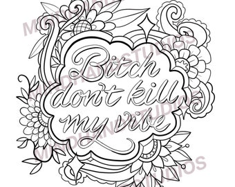 Bitch Colouring Page Etsy