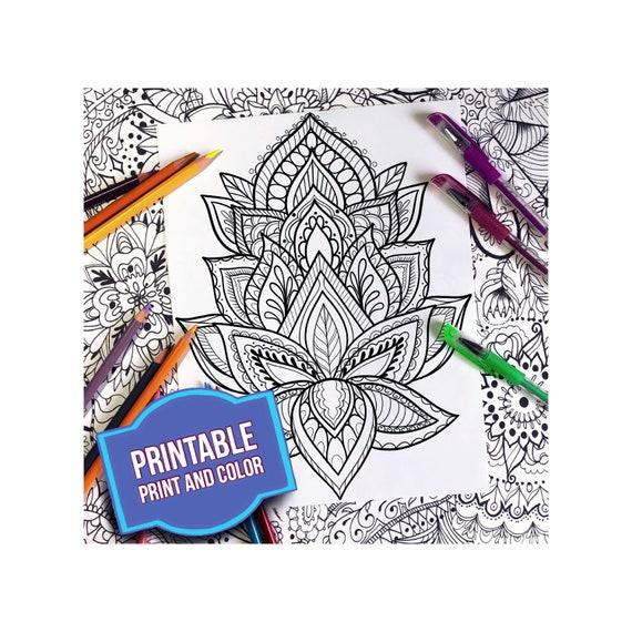 Print And Color Zen Mandala Coloring Page Digital Download Etsy