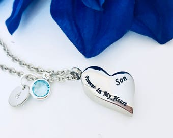 Piece of my heart necklace etsy forever in my heart son cremation necklace initial hand stamped memorial gift loss of loved one loss of son memorial charm urn necklace aloadofball Gallery