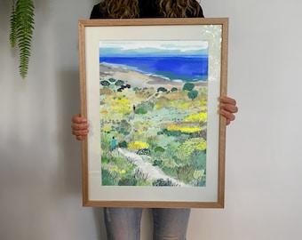 Down to the Beach   Ocean   Coastal   Nature Art Print   Wall Art   Illustration