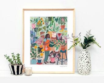 Plant Lady   Flowers   Girl   Floral Art Print   Wall Art   Botanical