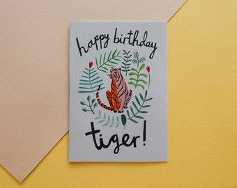 Happy Birthday Tiger   Tiger   Jungle   Illustration   Birthday card   Botanical   Animal