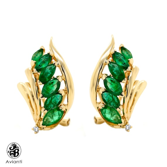 Emerald Earrings, Marquise Cut Emerald With French