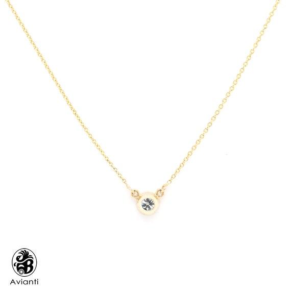 """14K Or Jaune Finition 1//2 Ct Rond Diamant Solitaire Lunette Pendentif 18/"""" Chaîne"""