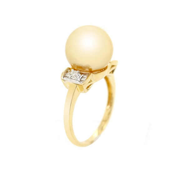 Pearl Ring, Golden Pearl And Diamond Ring, Baguett