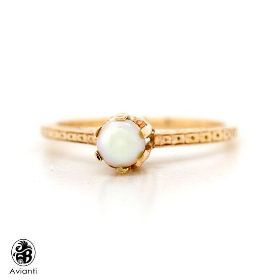 Pearl Ring, Vintage Pearl Ring, June Birthstone Ri