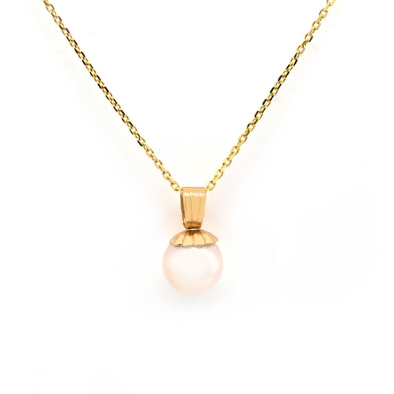 Pearl Pendant, Vintage White Cultured Pearl, Solit
