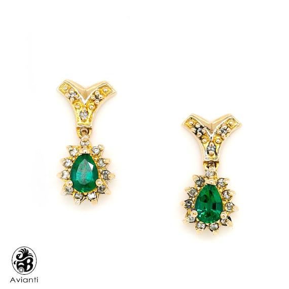 Emerald Earrings, Drop Emerald Earrings, Push Back