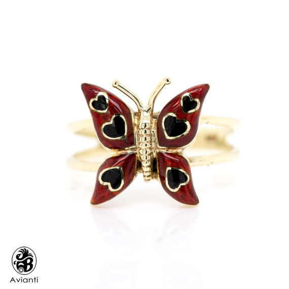Gold Ring, Butterfly Gold Ring, Enameled Butterfly
