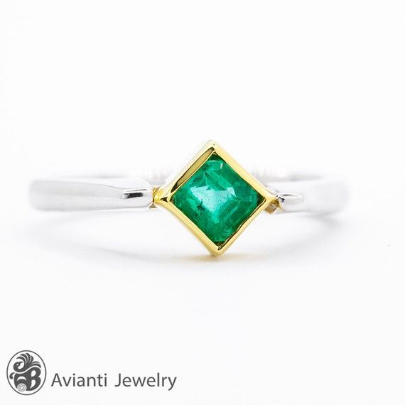 Emerald Ring, Green Stone Ring, Square Emerald Rin