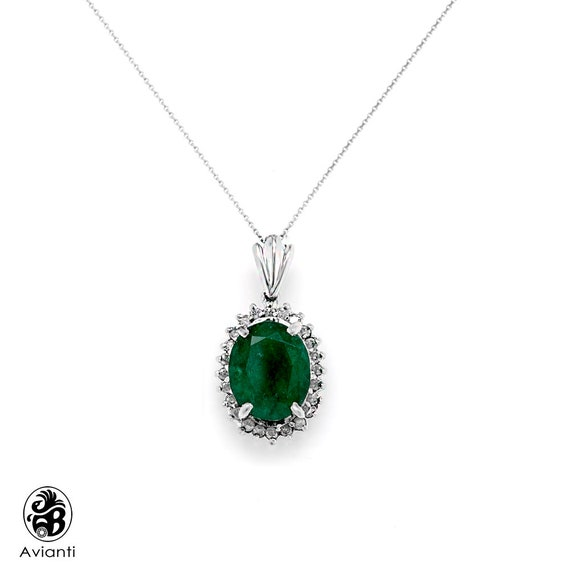 Emerald Pendant, Green Stone Pendant, Oval Cut Eme