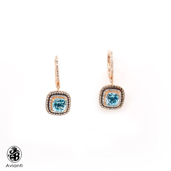 Aquamarine Earrings, Rose Gold Aquamarine Earrings