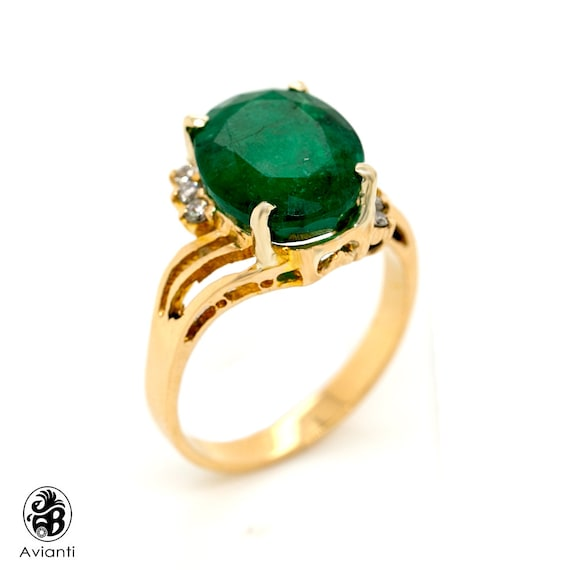 Emerald Ring, Green Stone Ring With Prong Set Diam