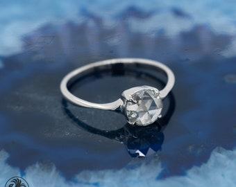Diamond Engagement Ring, Rose Cut Diamond Ring, Solitaire Diamond Ring, Dainty Rose Cut Engagement Ring, Natural Diamond Ring   LDR02666