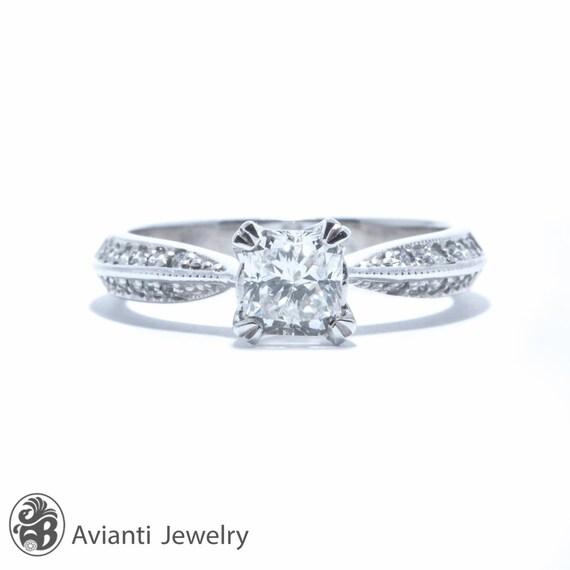 Engagement Ring Square Cut Diamond Ring Diamond Engagement Etsy