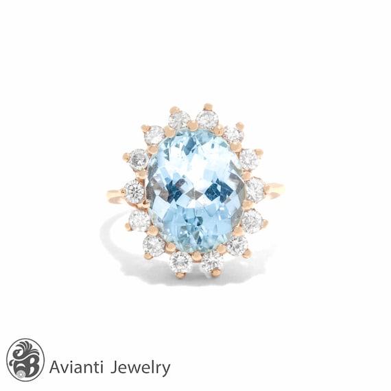 Aquamarine Ring, Vintage Aquamarine Ring, Calssic