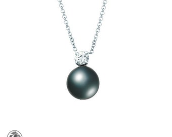 Pearl Pendant, Black Tahitian Pearl, Single Diamond Pearl Necklace, Peacock Pearl Necklace, White Gold Black Pearl pendant | NEC02104