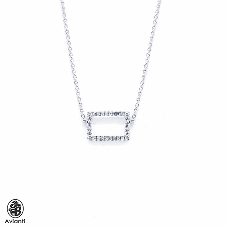 1ebfc25bad722 Diamond Necklace, Rectangular Necklace with Diamonds, Open Square Necklace  with Diamonds, Dainty Necklace With Cable Chain | NEC01589