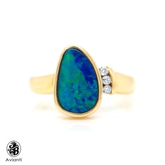 Opal Ring, Blue Green Opal Ring, Modern Ring W/ Op