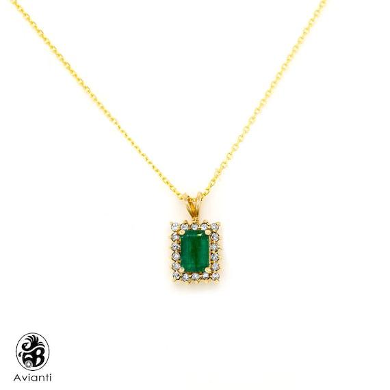 Emerald Pendant, Vintage Emerald Stone Pendant, Em