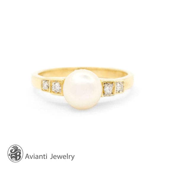 Pearl Ring, Diamond Pearl and  Ring, June Birthsto