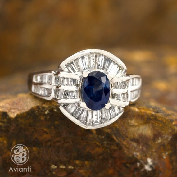 Sapphire Ring, Blue Sapphire Ring, Baguettes and O