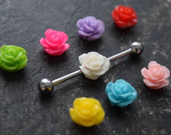 Flower on 14G (1.6mm) or 16G (1.2mm) Industrial Barbell Scaffold Piercing Jewelry (32mm, 35mm, or 38mm!)