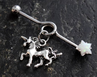 One Star Unicorn 14G (1.6mm) Industrial Barbell Scaffold Piercing Jewelry (32mm, 35mm, or 38mm!)