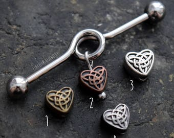 Heart Celtic Knot 14G (1.6mm) Industrial Barbell Scaffold Piercing Jewelry (32mm, 35mm, or 38mm)