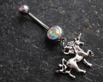 Unicorn Navel Belly Ring 14 gauge (1.6mm) Rainbow CZ Gems Jewelry Accessory Piercing