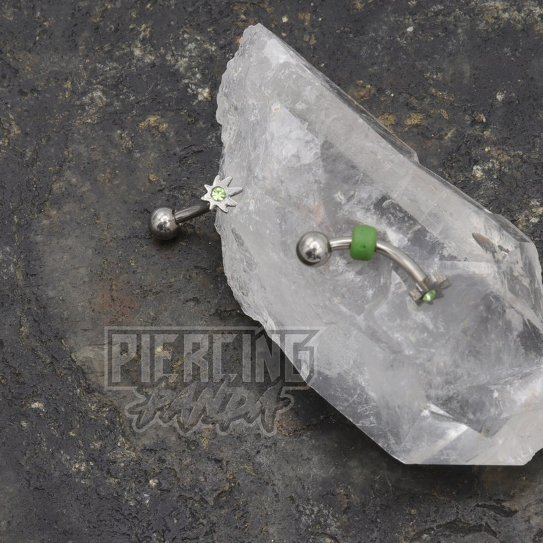 16g Green CZ Leaf External Thread Beaded Eyebrow Rook Piercing Curved Banana Barbell Jewelry