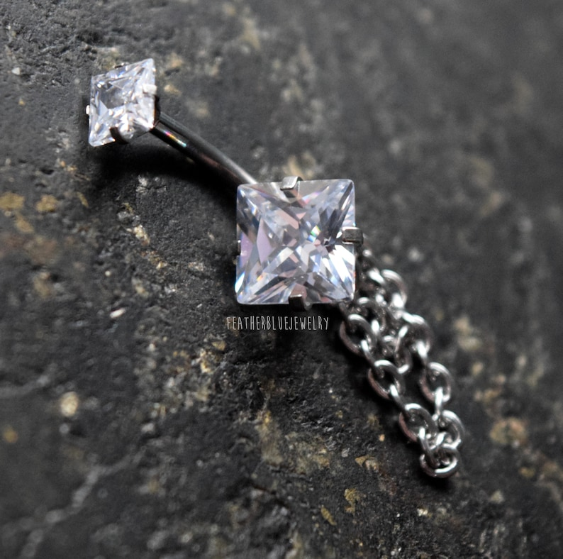 Square CZ Prong Set with Internally threaded Double Jewel 316L Surgical Steel Belly Button Navel Rings