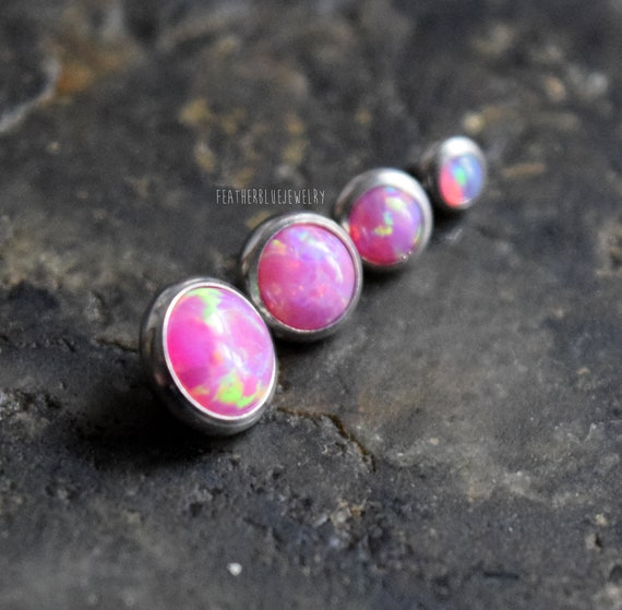 4MM PINK OPALITE 14G SILVER SURGICAL STEEL DERMAL PIERCING IMPLANT ANCHOR TOP