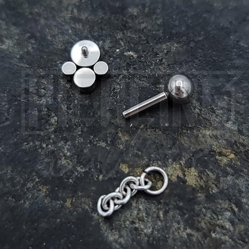 16g 6mm Dark Vitrail CZ Gems Implant Grade Titanium Internal Thread Cartilage Helix Barbell Bezel Paw