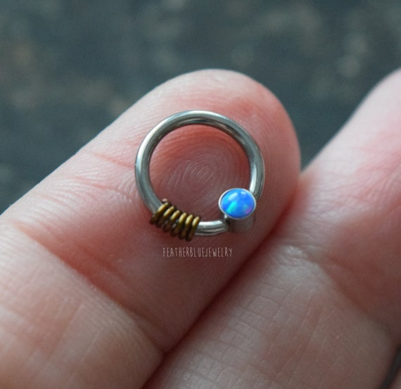 """16G 3//8/"""" FIVE SYNTHETIC-OPAL BENDABLE STEEL SEPTUM NOSE CARTILAGE RING HOOP"""
